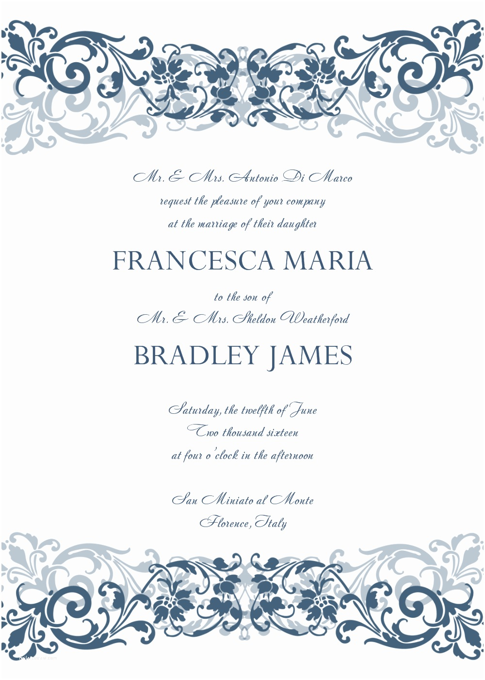 Wedding Invitation Templates 8 Free Wedding Invitation Templates Excel Pdf formats