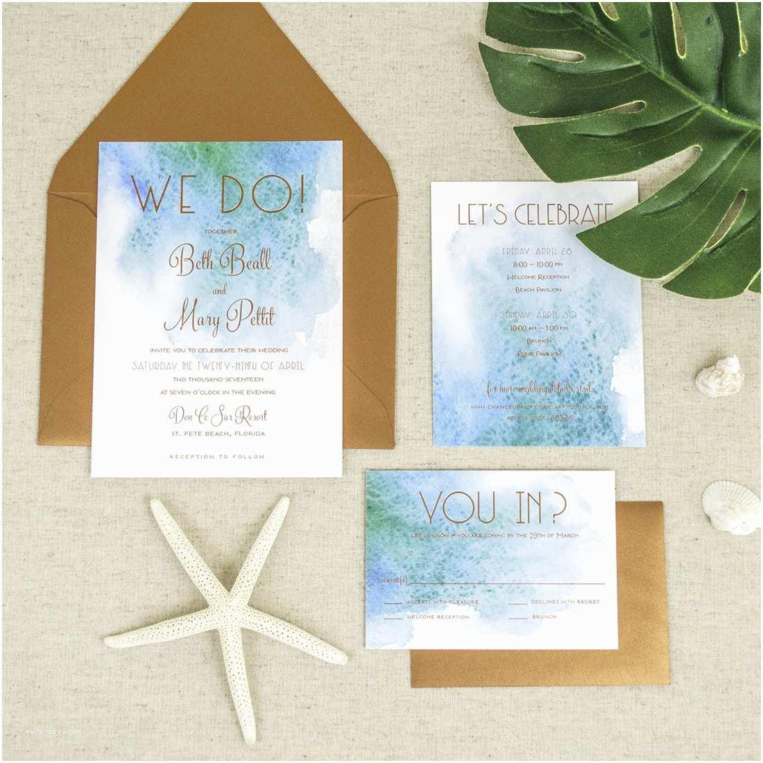 Wedding Invitation Templates Beach theme Affordable Letterpress Wedding Invitations Tampa Bay