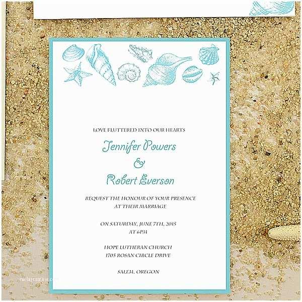 Wedding Invitation Templates Beach theme Cheap Starfish and Seashell Beach Wedding Invitation