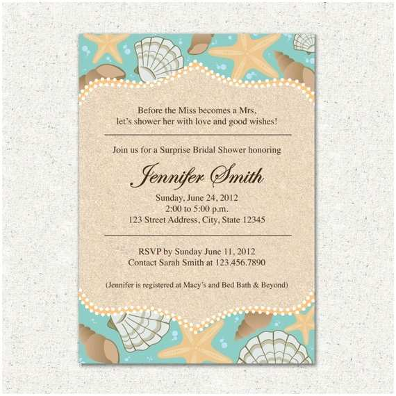 Wedding Invitation Templates Beach theme Invitation Beach themed Bridal Shower Invite by