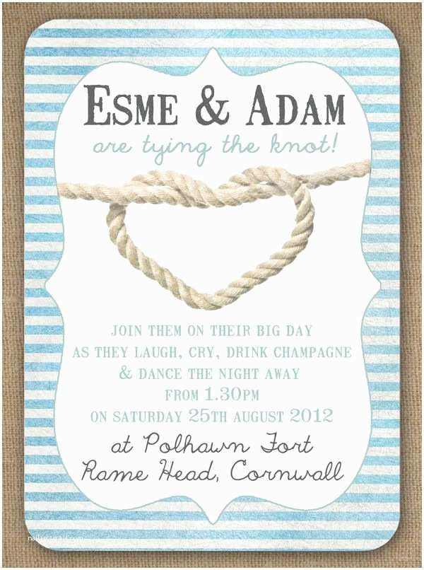 Wedding Invitation Templates Beach theme Knots and Anchors Nautical Seaside Sailing Beach theme