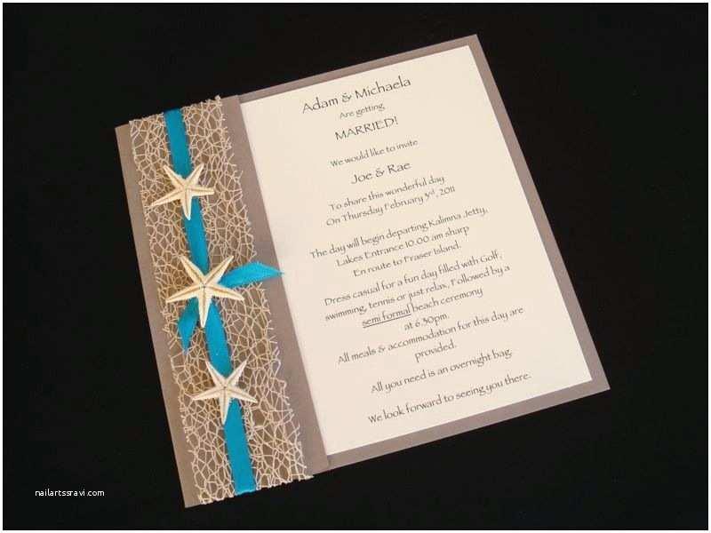 Wedding Invitation Templates Beach theme Urban Starfish Teal Beach Wedding Invitation Sample