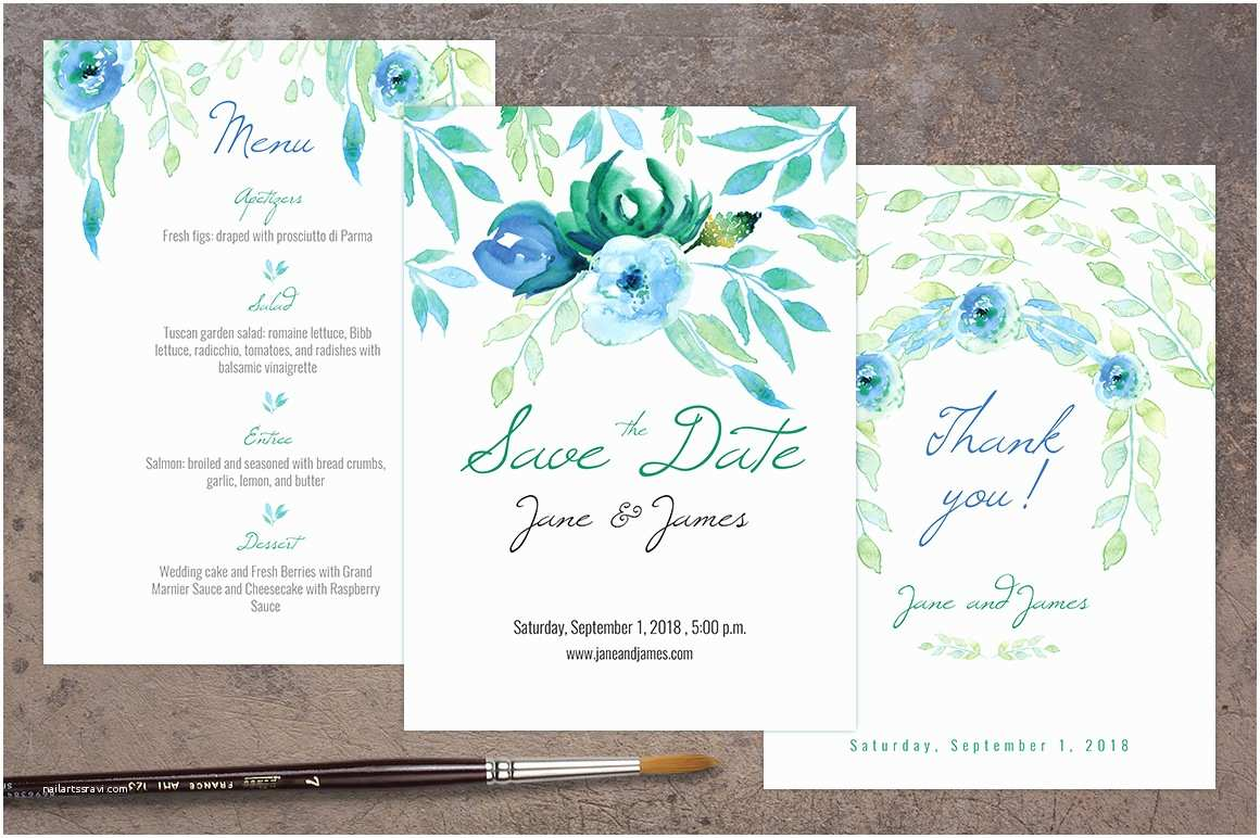blue wedding invitation pack