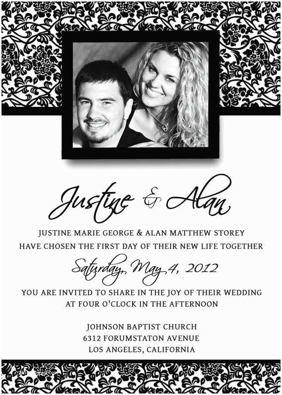 Wedding Invitation Templates Photoshop Diy Printable Wedding Invitation Damask Psd by
