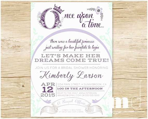 Wedding Invitation Time Ce Upon A Time Bridal Shower Invitation Fairytale Bridal