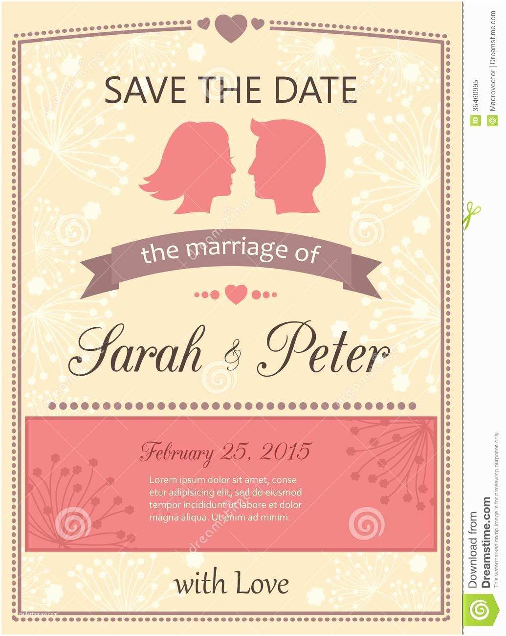 Wedding Invitation Time Save the Date Wedding Invitation Card Stock Vector
