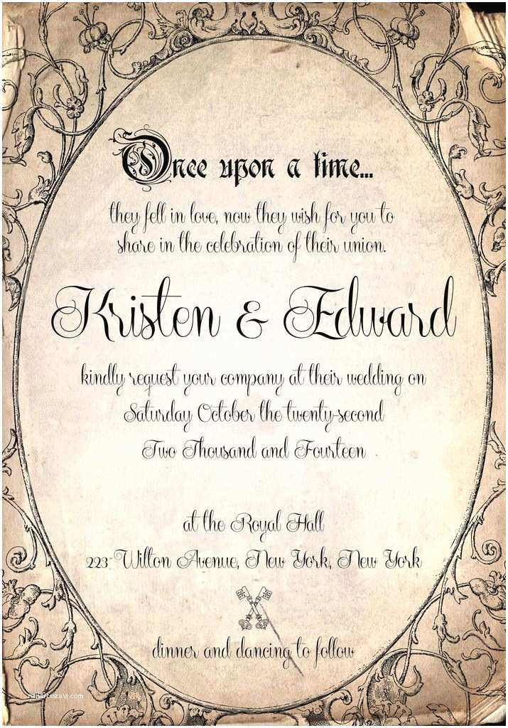 Wedding Invitation Time Storybook Fairytale once Upon A Time Wedding Invitation by