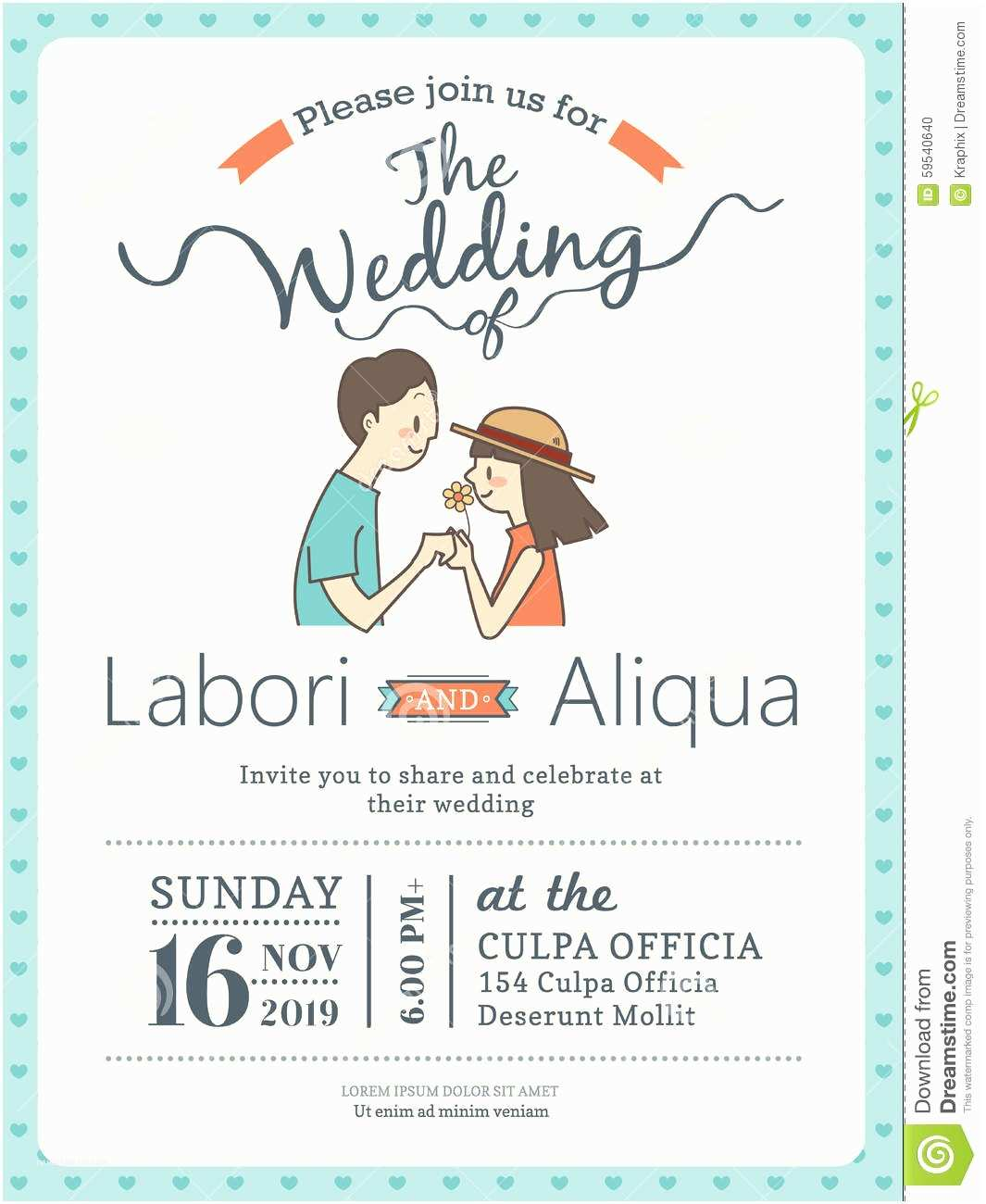 Wedding Invitation Time Wedding Invitation Card Template with Cute Groom and Bride