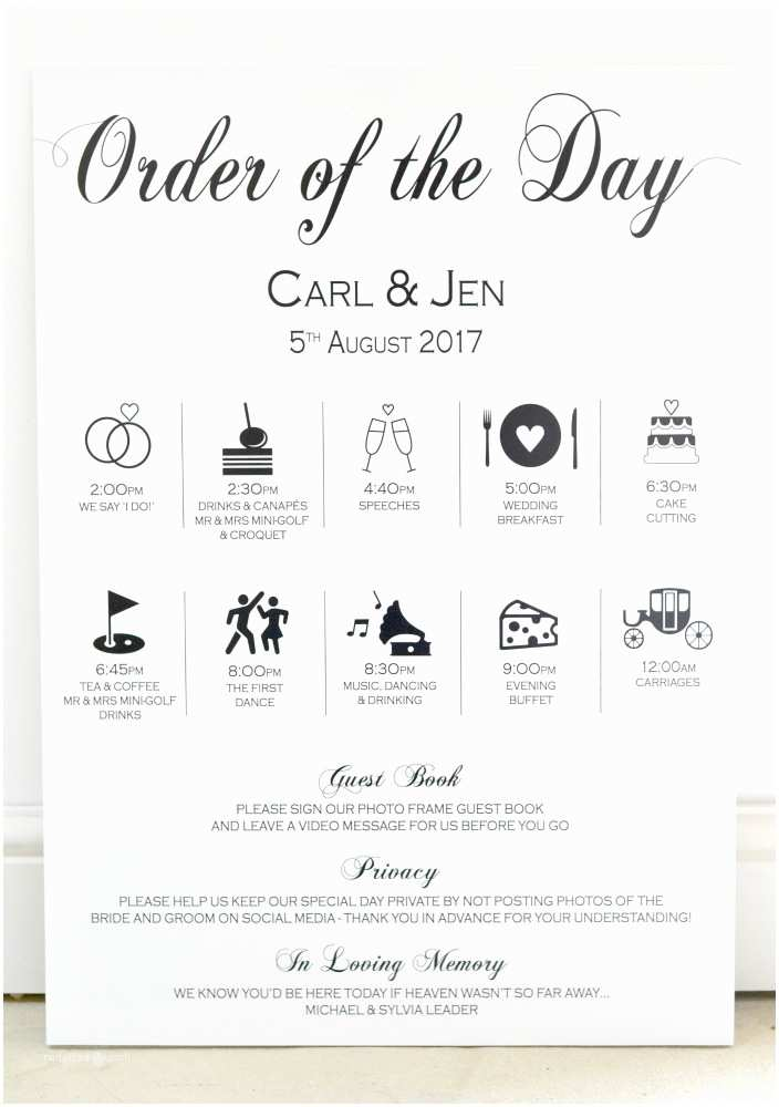 Wedding Invitation Time Wedding Timeline order Of Day Sign