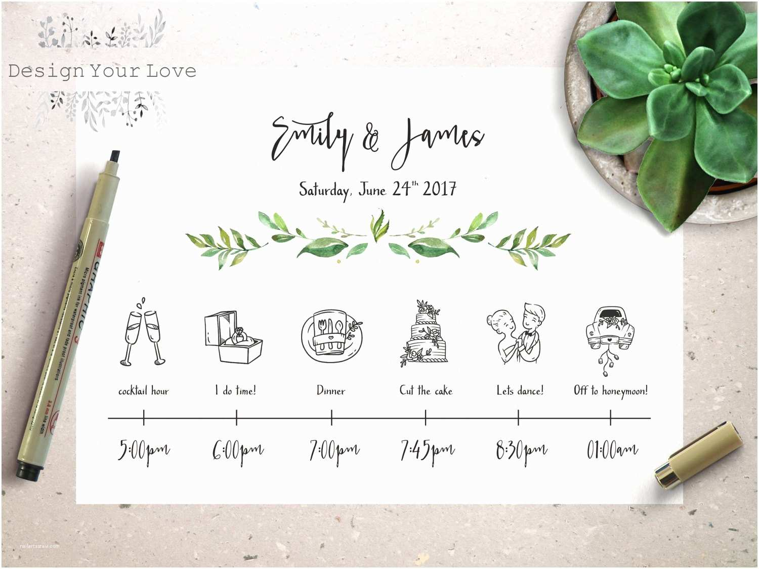 Wedding Invitation Time Wedding Timeline Printable Wedding Itinerary Template Green