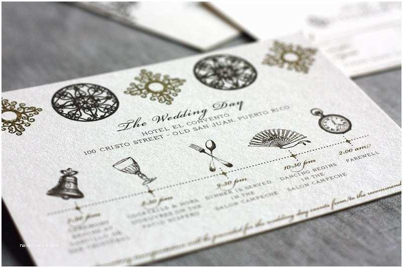 Wedding Invitation Timeline Spanish Style Laser Cut Invitations