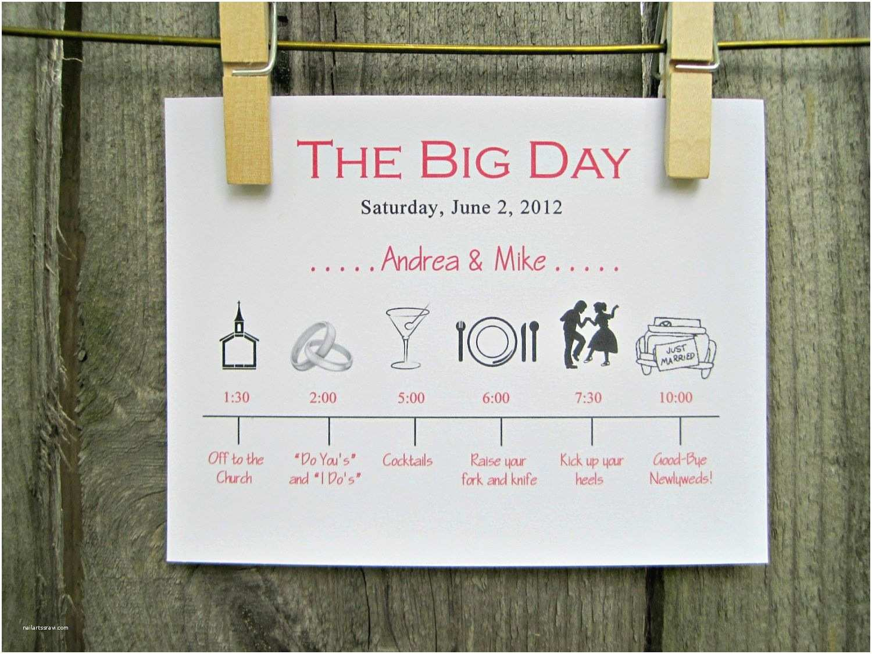 Wedding Invitation Timeline Wedding Day Timeline Schedule Of events Invitation Card