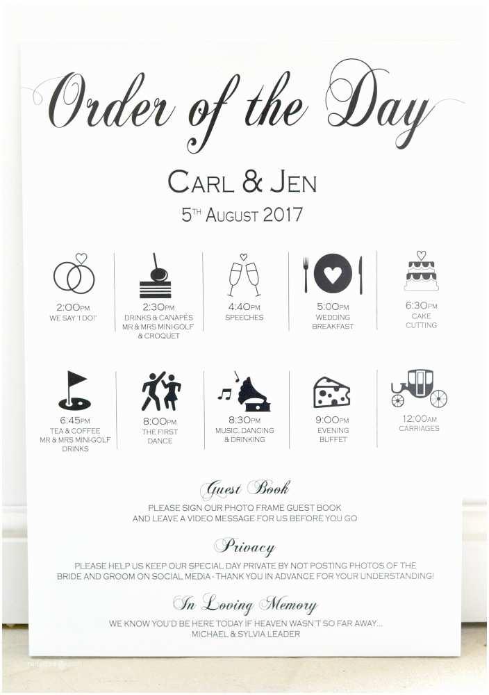 Wedding Invitation Timeline Wedding Timeline order Of Day Sign