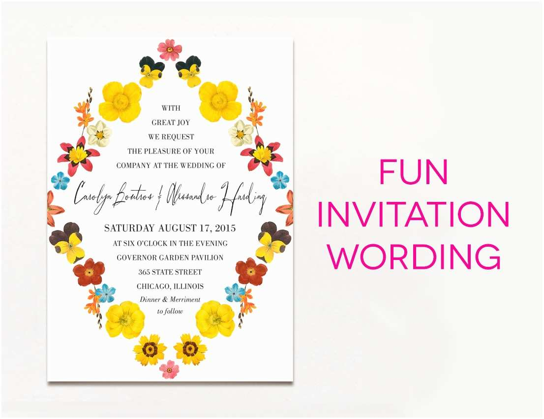 Wedding Invitation Verses 15 Wedding Invitation Wording Samples From Traditional to Fun