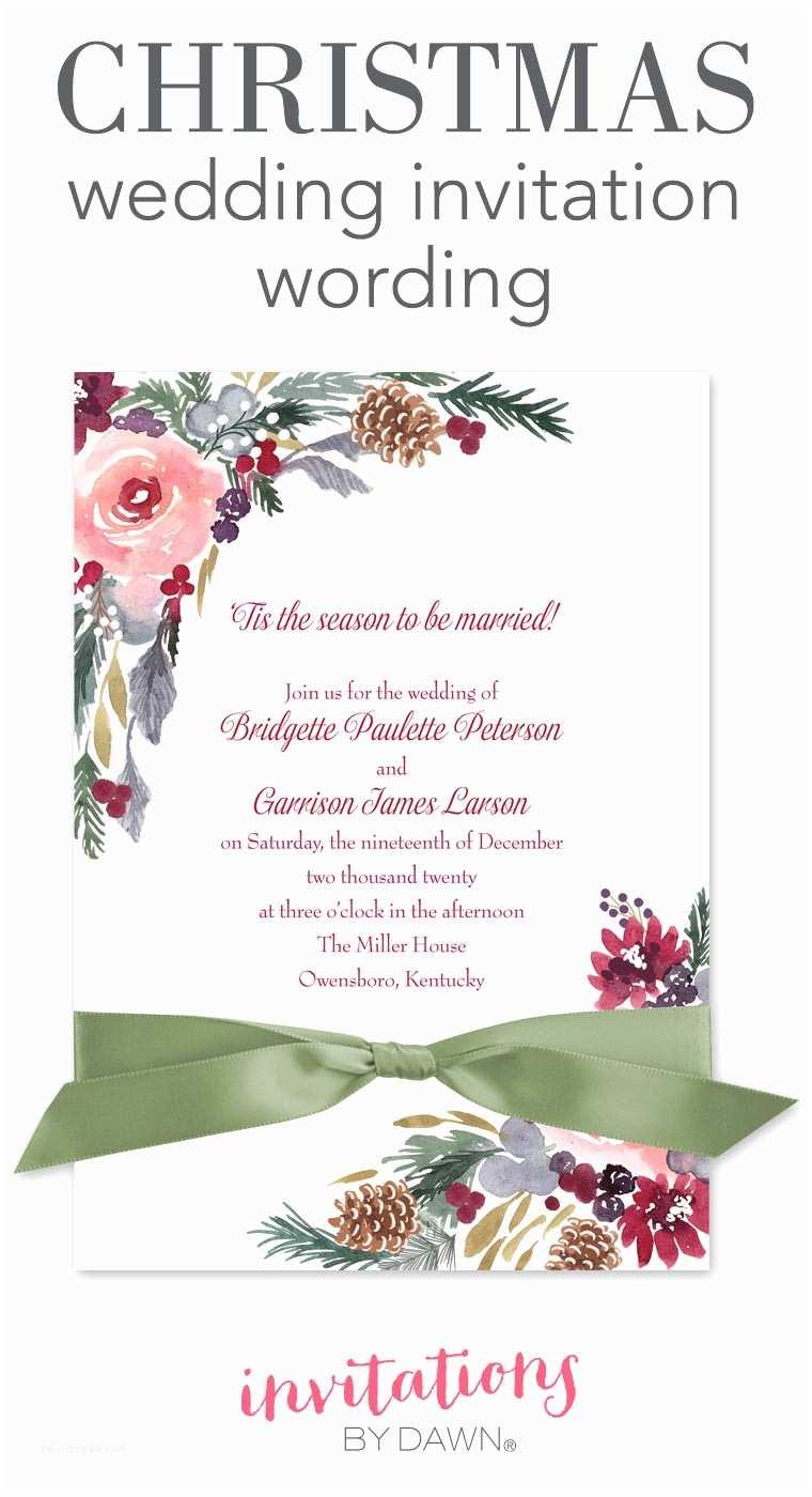Wedding Invitation Verses Christmas Wedding Invitation