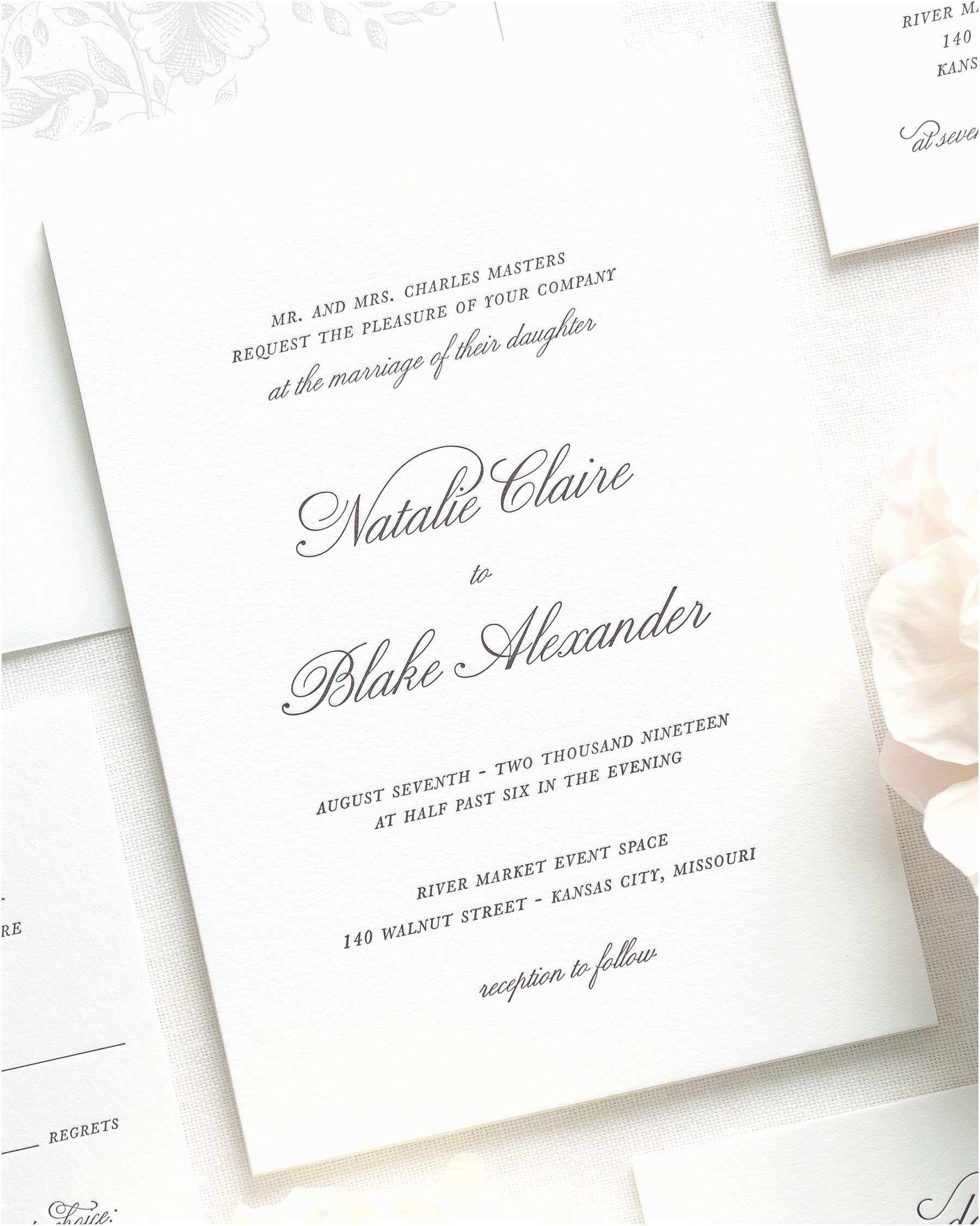 Wedding Invitation Video Classic Script Letterpress Wedding Invitations