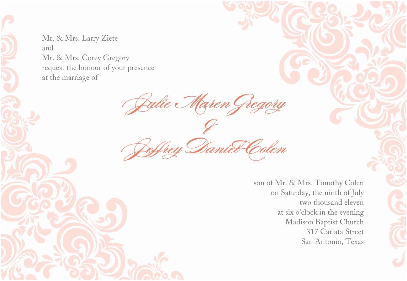 Wedding Invitation with Photo Templates Baby Pink Wedding Invitation Template Word Document with