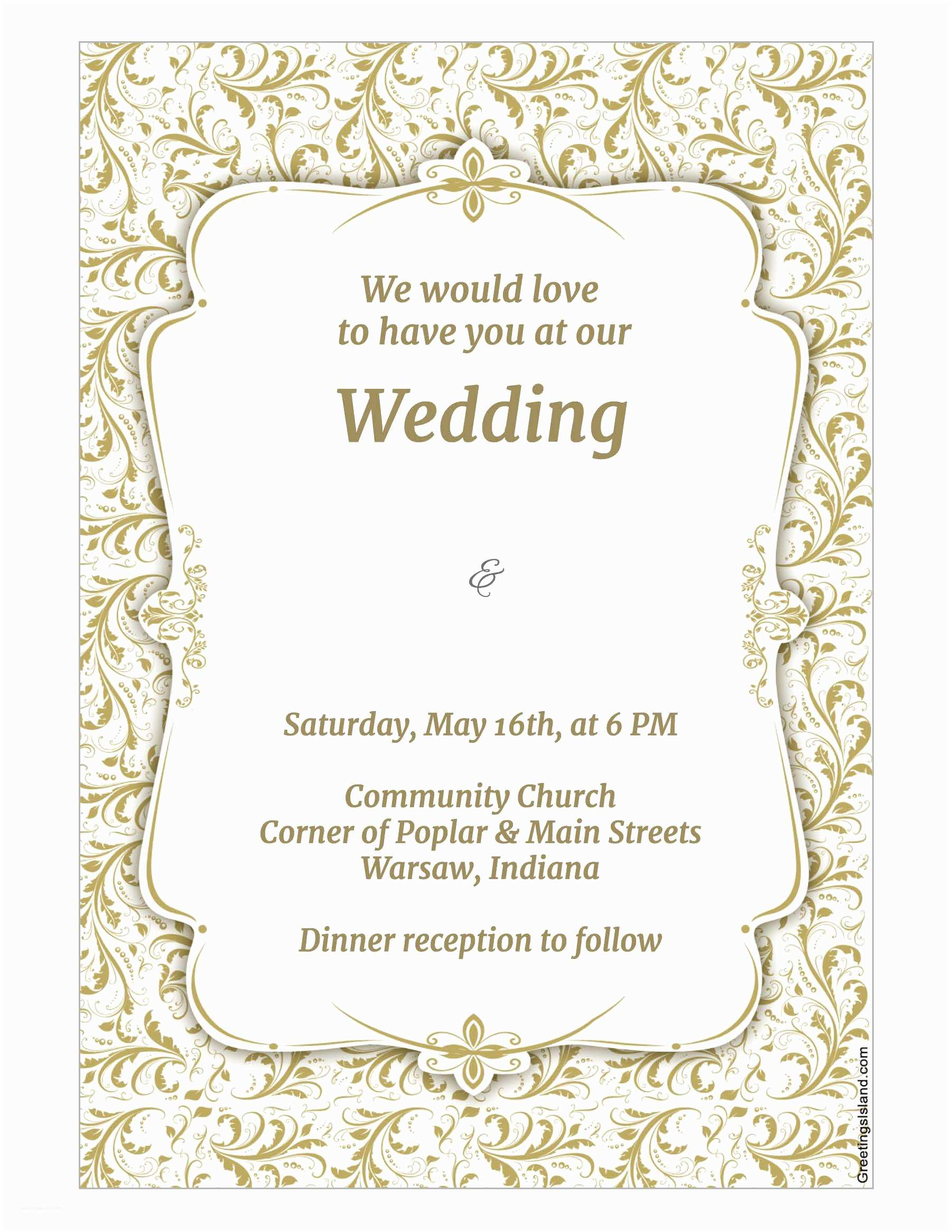 Wedding Invitation with Photo Templates Download Wedding Invitation Template Wikidownload