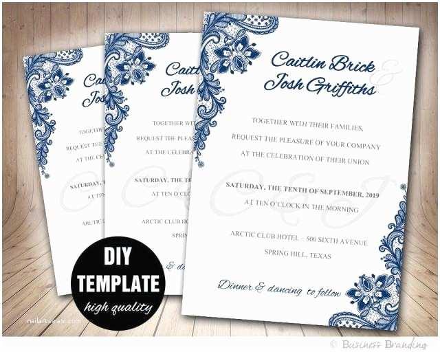 Wedding Invitation with Photo Templates Navy Blue Wedding Invitation Template Diy Instant Download