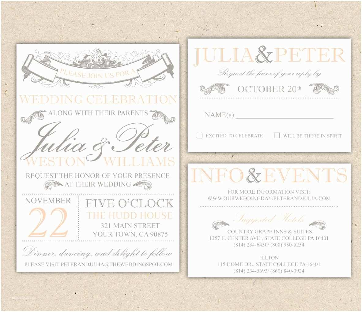 Wedding Invitation With Photo  Vintage Wedding Invitation