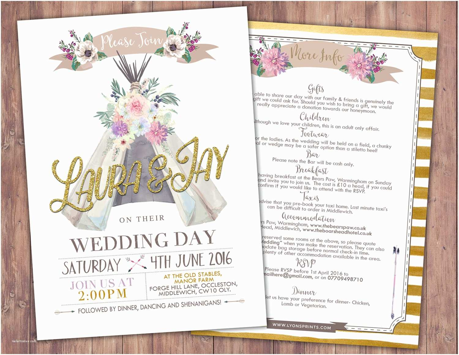 Wedding Invitation with Photos Of Couples Free Boho Wedding Invitation Teepee Invitation Invitation