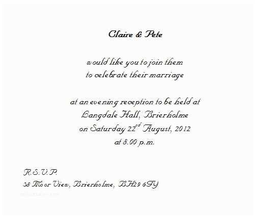 Wedding Invitation Wording Bride and Groom Hosting evening Wedding Invitation Wording