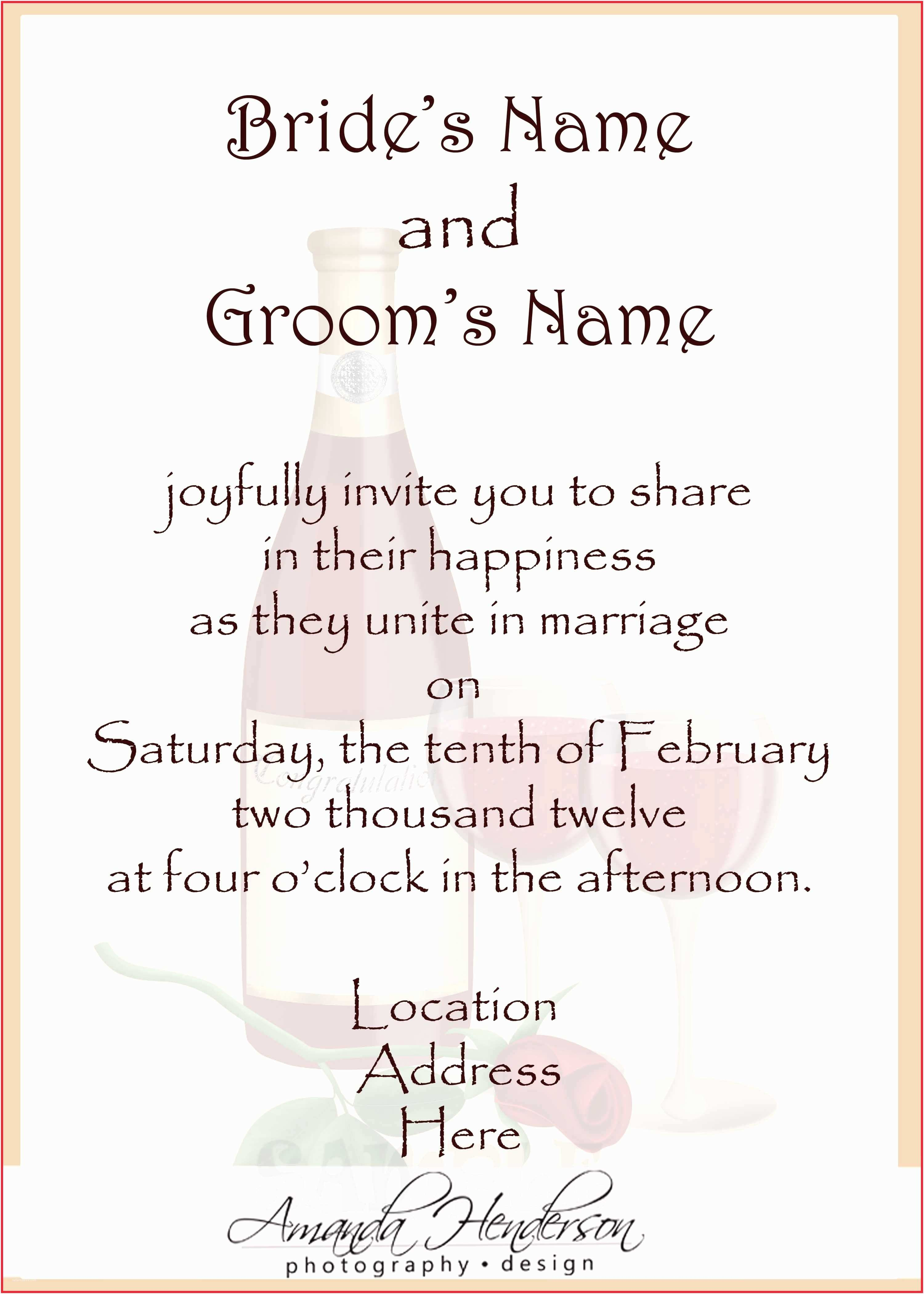 Wedding Invitation Wording Bride and Groom Hosting Wedding Invitation Wording From Bride and Groom