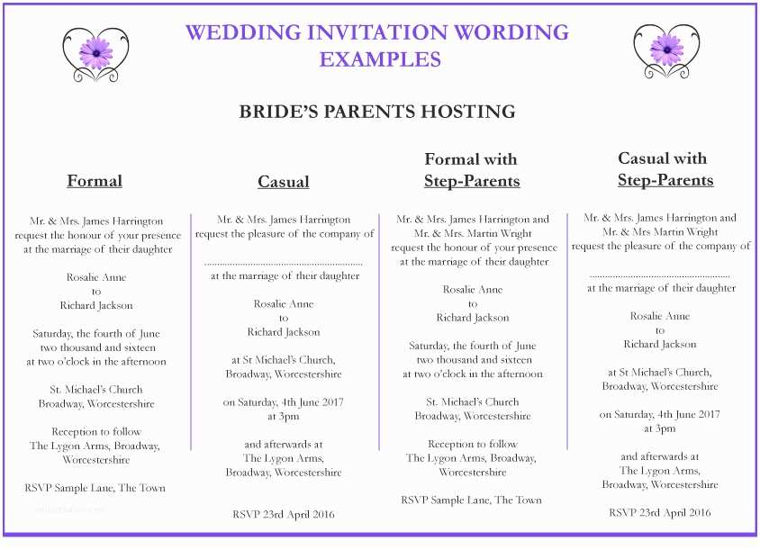 Wedding Invitation Wording Bride's Parents Hosting Wedding Invitation Wording