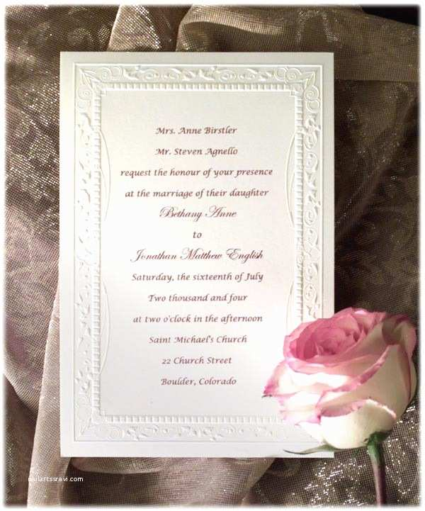 Wedding Invitation Wording Bride's Parents Hosting Wedding Invitation Wording Samples to Her with their