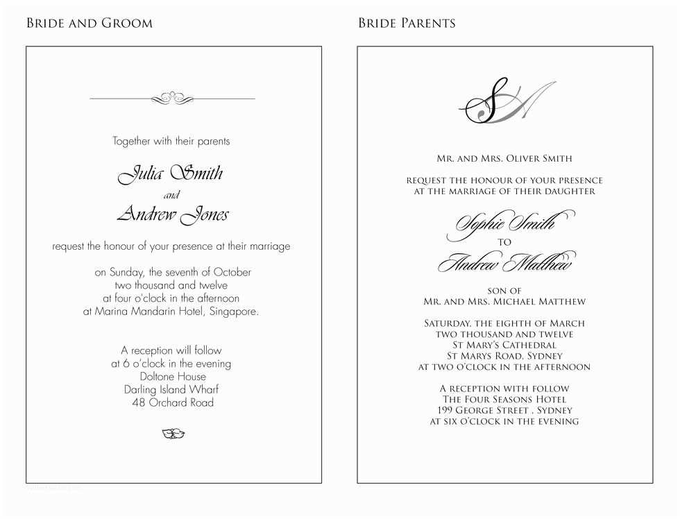 Wedding Invitation Wording Examples Church Wedding Invitation Wording