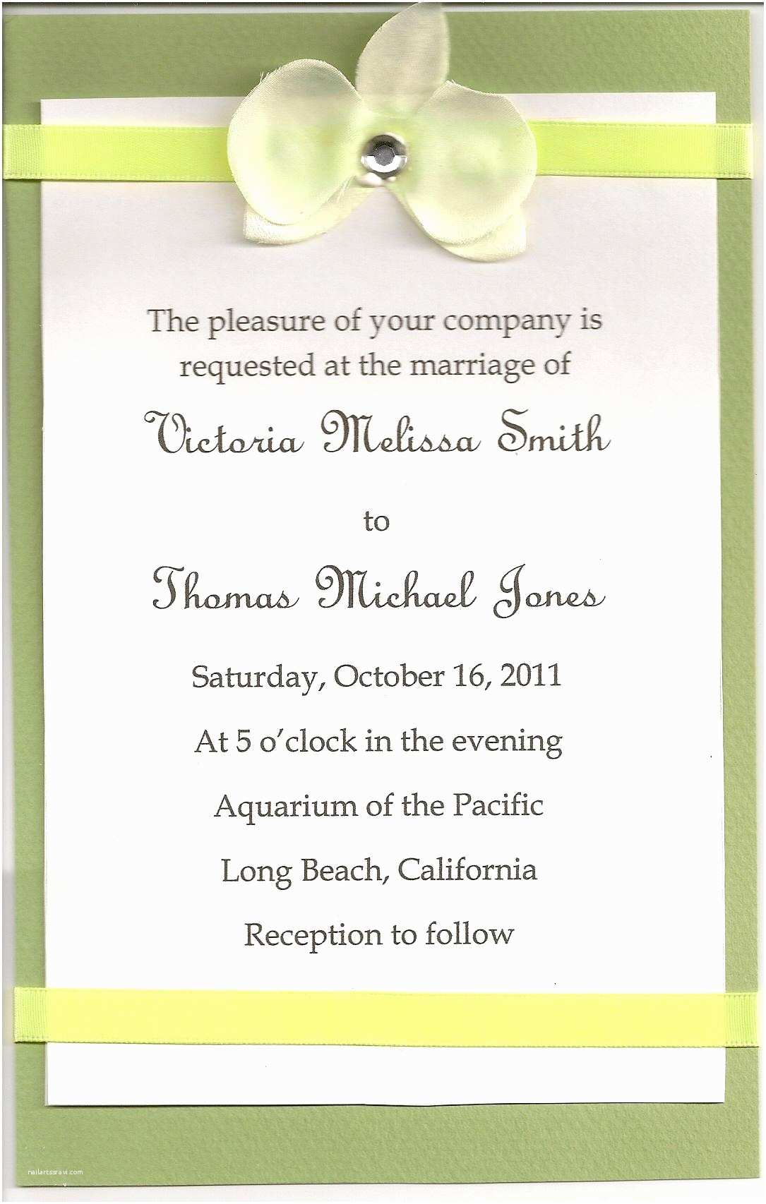 Wedding Invitation Wording Examples Diy Wedding Invitations Simple