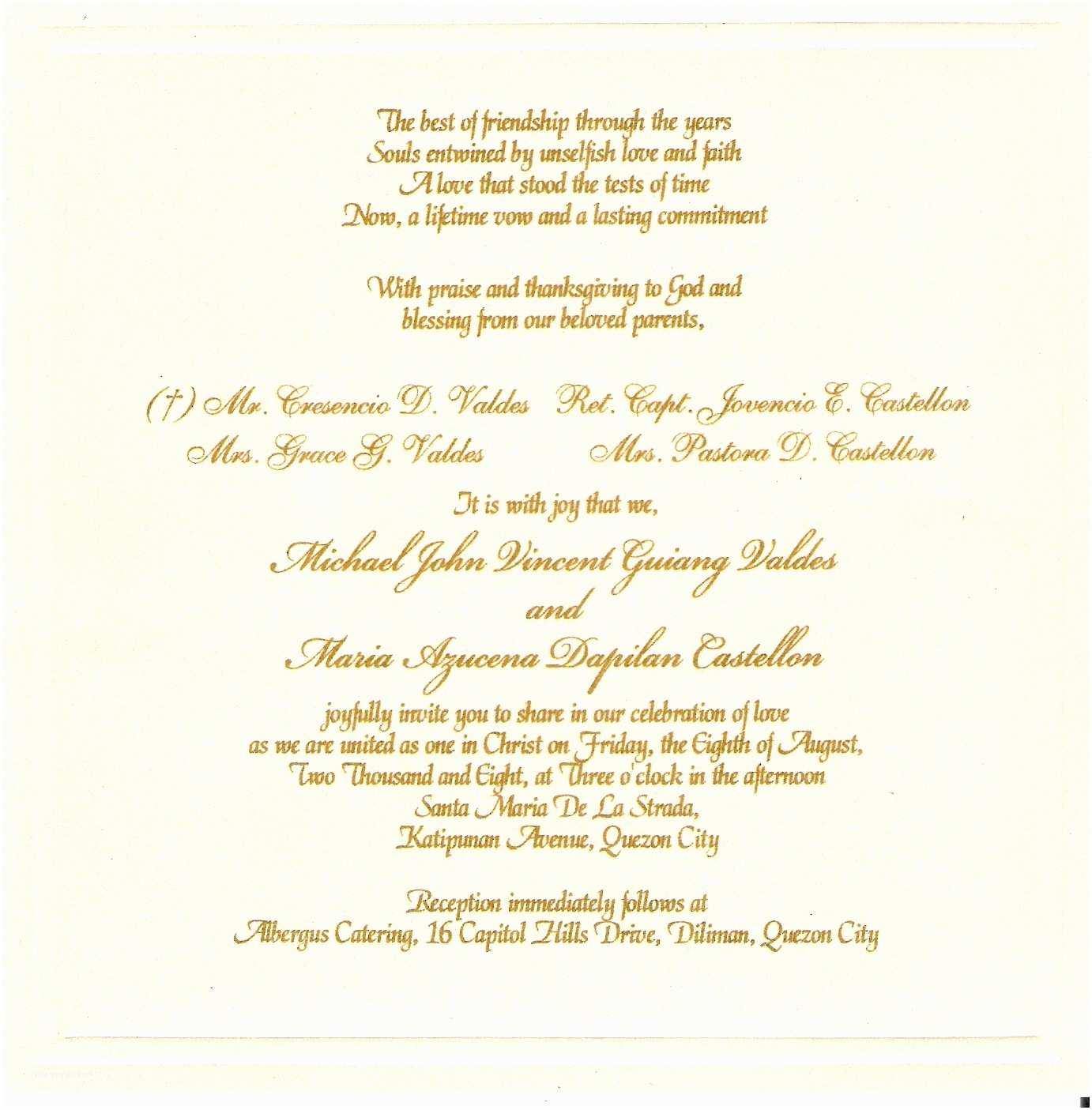 Wedding Invitation Wording Examples Valdes Castellon Nuptials