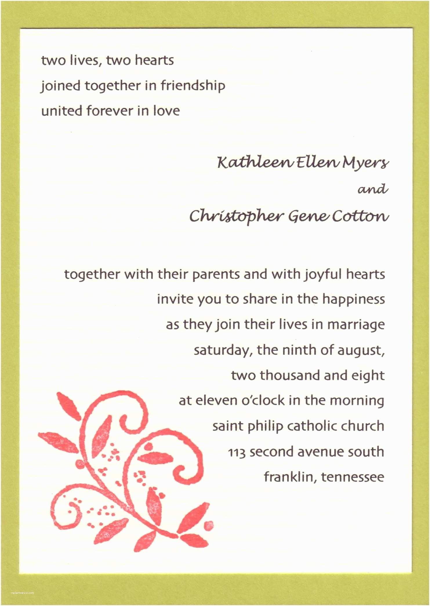 Wedding Invitation Wording for Friends Wedding Invitations Cards Wording Wedding Invitation