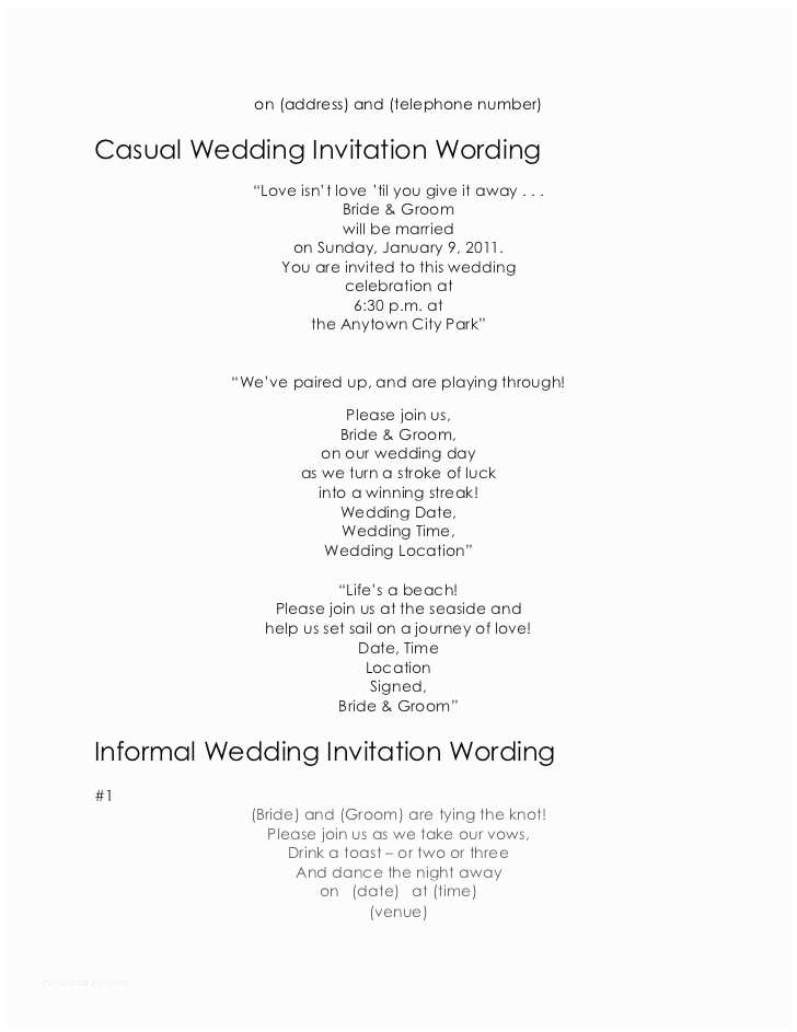 Wedding Invitation Wording From Bride and Groom Wedding Invitation Wording Samples