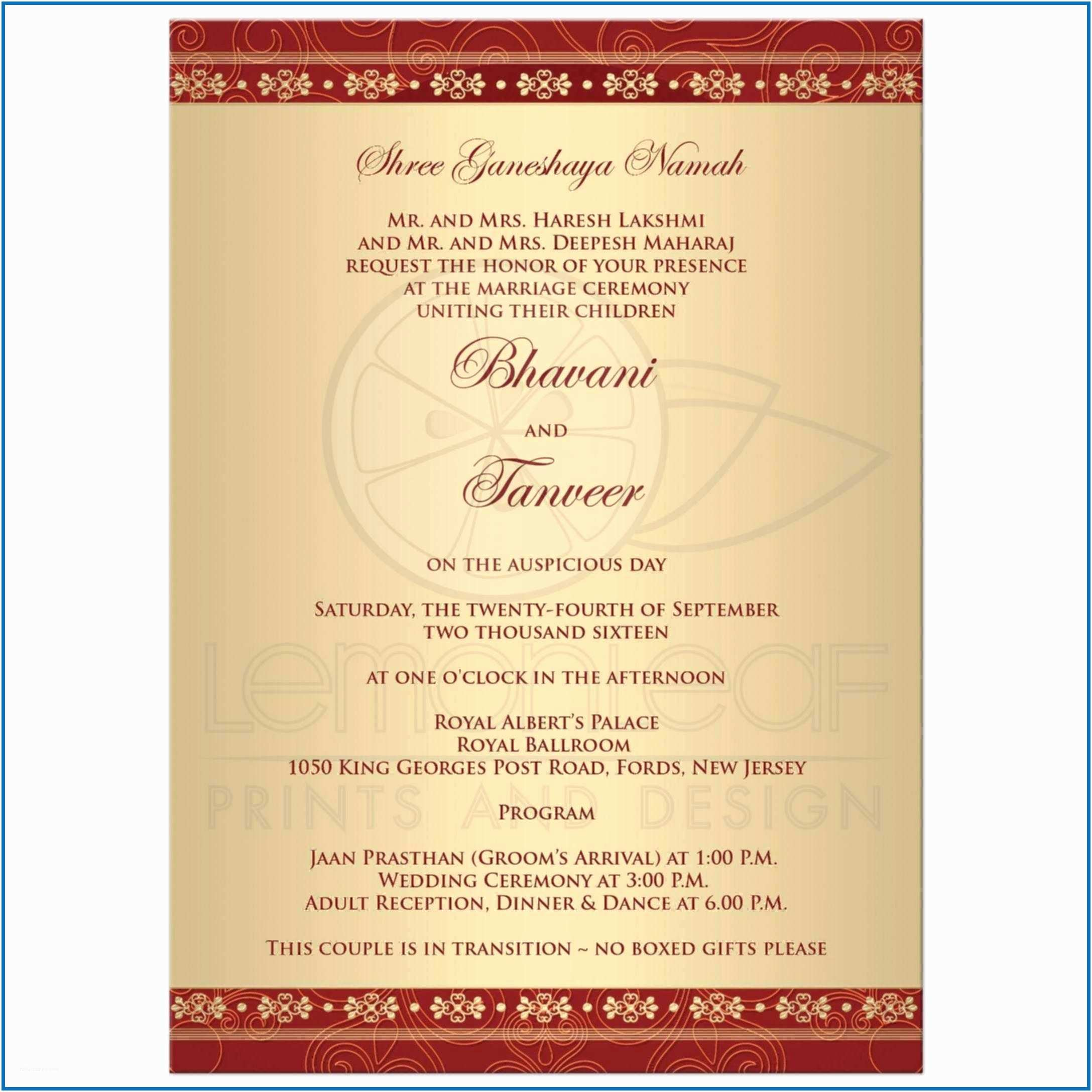 Wedding Invitation Wording Indian Bride and Groom Invitation for Wedding Sample Kerala Hindu Wedding