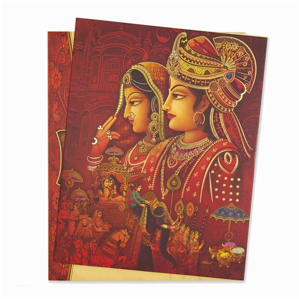 Wedding Invitation Wording Indian Bride and Groom Royal Hindu Wedding Invitation Card with Bride & Groom