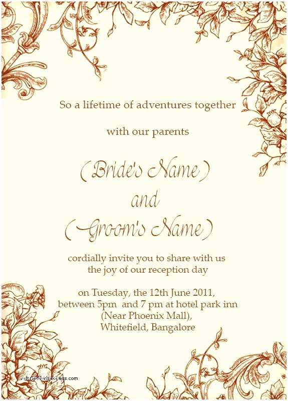 Wedding Invitation Wording Indian Bride and Groom Wedding Reception Invitation Wording Indian Samples From