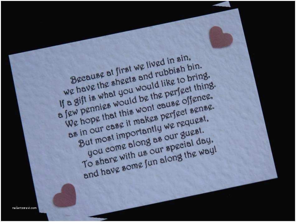 Wedding Invitation Wording Money Instead Of Gifts Poem Asking For