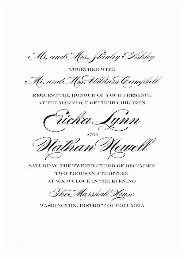 Wedding Invitation Wording without Parents Wedding Invitations Wording Names Invitation Sample