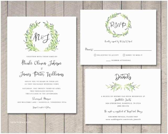 Wedding Invitations and Response Cards All In One Laurel Wedding Invitation Rsvp Details Card Printable