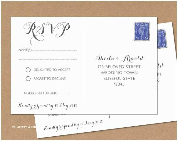 Wedding Invitations and Response Cards All In One Postcard Rsvp Card Wedding Rsvp Postcard byron