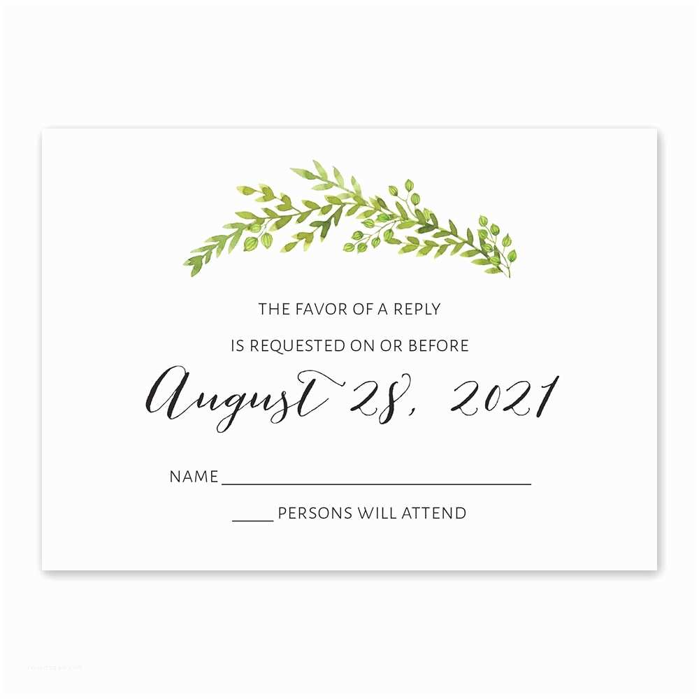Wedding Invitations and Response Cards All In One Watercolor Greenery Response Card