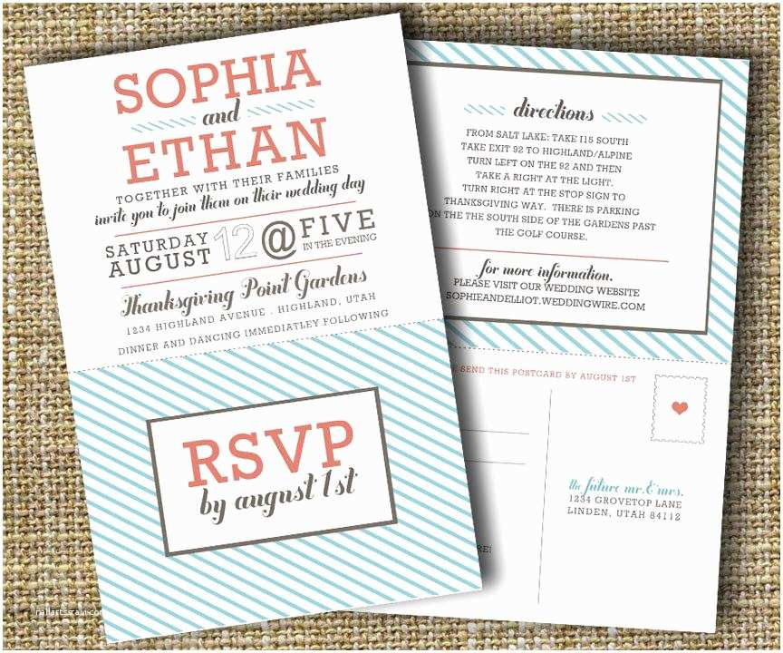 Wedding Invitations and Rsvp Cards Modern Wedding Invitation with Perforated Rsvp Card