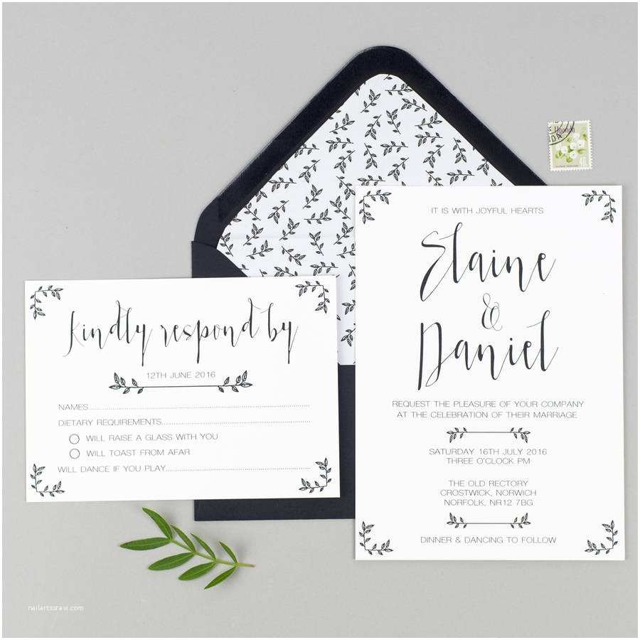 Wedding Invitations and Rsvp Cards Modest Love Wedding Invitation and Rsvp by Eliza May