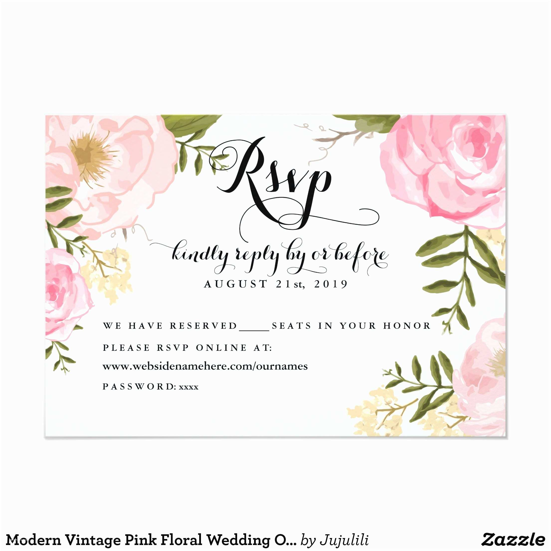 Wedding Invitations and Rsvp Modern Vintage Pink Floral Wedding Line Rsvp 3 5x5 Paper