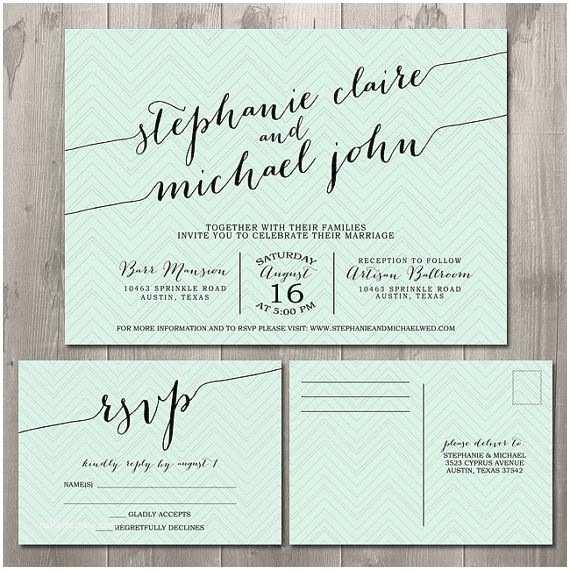 Wedding Invitations and Rsvp Zig Zag Handwriting Wedding Invitation Suite Diy