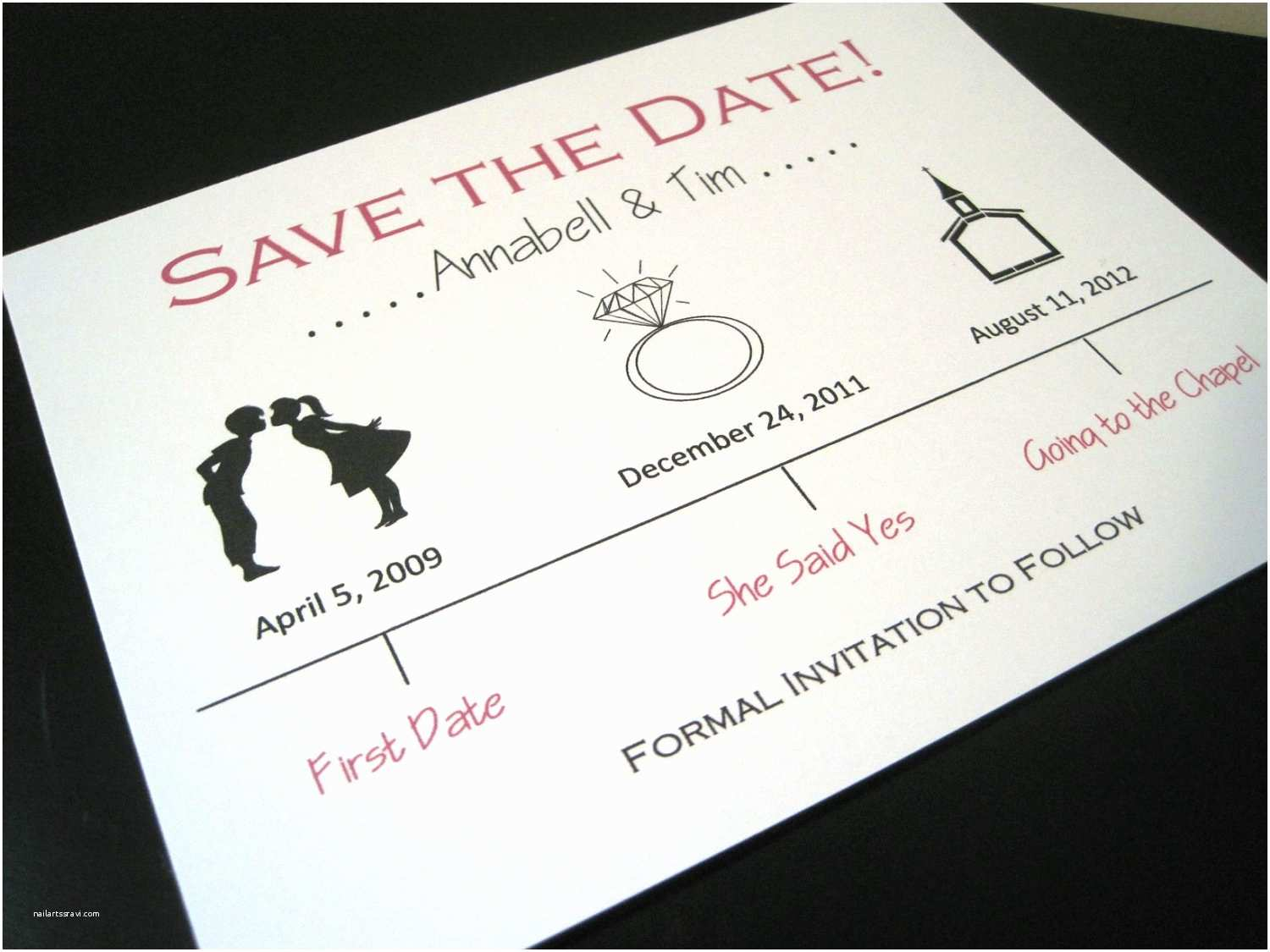 Wedding Invitations and Save the Dates Cute Wedding Save the Date Ivory Red Black