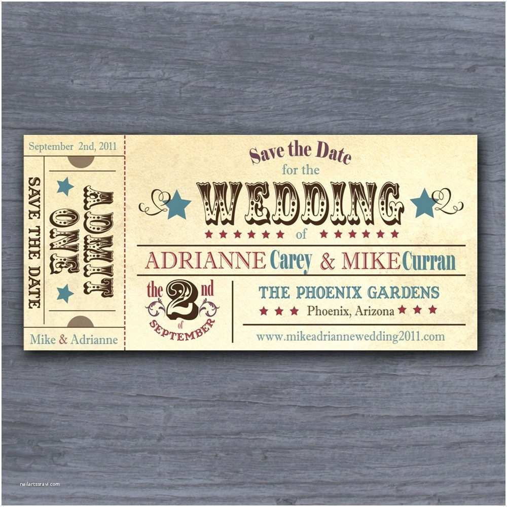 Wedding Invitations and Save the Dates Vintage Rodeo Ticket Save the Date Wedding Invitation