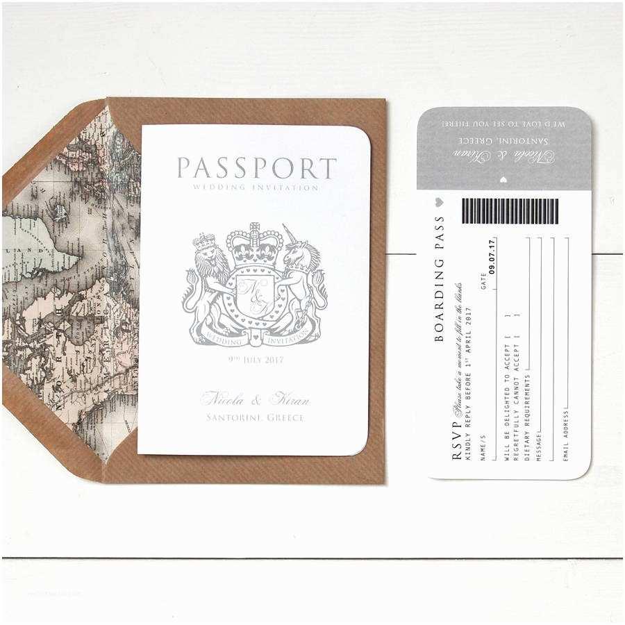 Wedding Invitations Around the World Passport Wedding Invitation by Ditsy