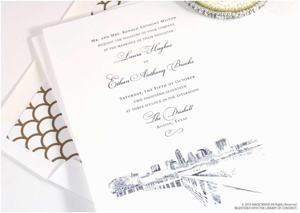 Wedding Invitations Austin Austin Texas Skyline Wedding Invitations